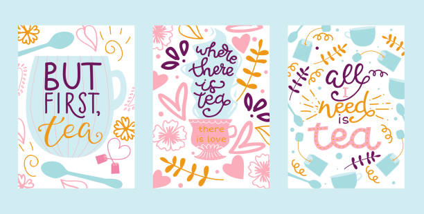 Tea vector illustration cards with hand drawn lettering design element for greeting cards, prints and posters. Make tea in teabag and cup of green bio tea in pastel colors. vector art illustration