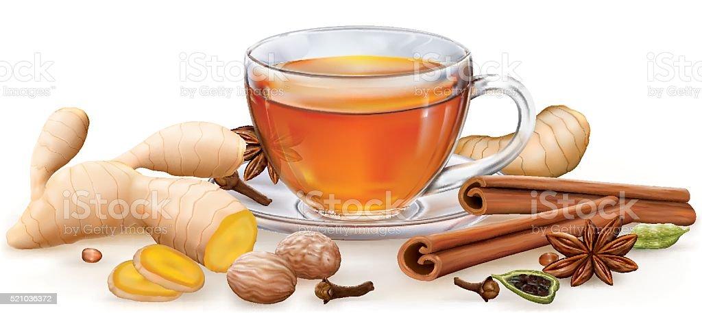 Tea witch masala spices vector art illustration