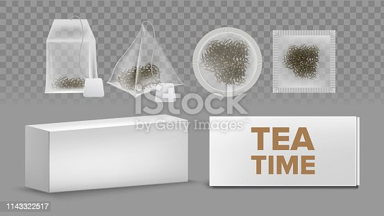 Teabags Mockups With Labels Various Shapes Vector Set. Rectangle, Circle, Square, Pyramid Teabags Isolated Cliparts Pack. Blank Tea Box. Black, Green, Herbal Tea 3D Realistic Illustration