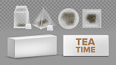 Teabags Mockups With Labels Various Shapes Vector Set