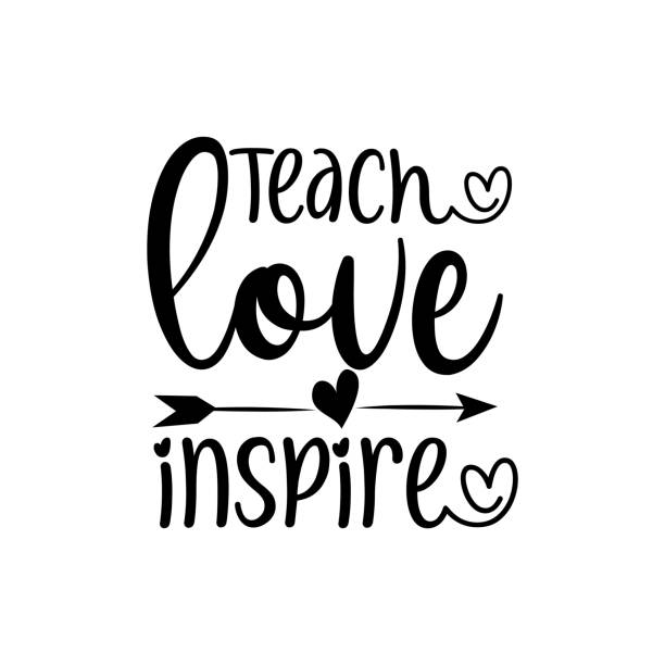 Teach Love Inspire- calligraphy with arrow. Teach Love Inspire- calligraphy with arrow. Good for greeting card, poster, banner, t shirt print, and gift design. thank you teacher stock illustrations