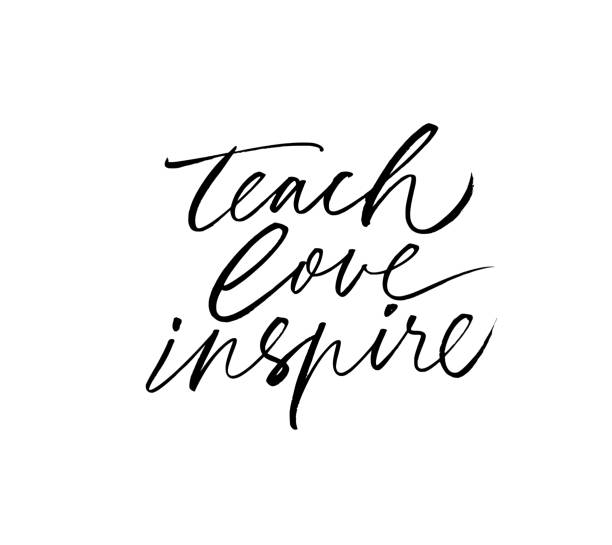 Teach, love, inspire greeting card. Hand drawn brush vector calligraphy isolated on white background. Teach, love, inspire greeting card. Hand drawn brush vector calligraphy isolated on white background. Lettering design for greeting card, invitation, logo, stamp or teacher's day banner. thank you teacher stock illustrations