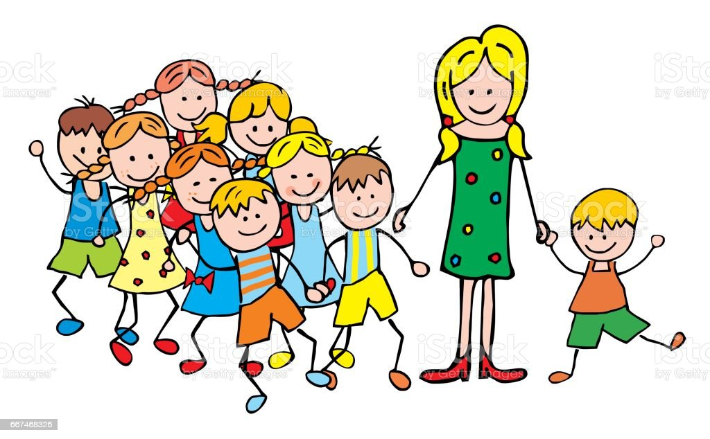 teacher and children on trip vector art illustration