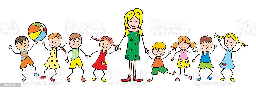 teacher and children vector art illustration