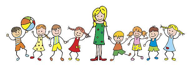 teacher and children vector art illustration
