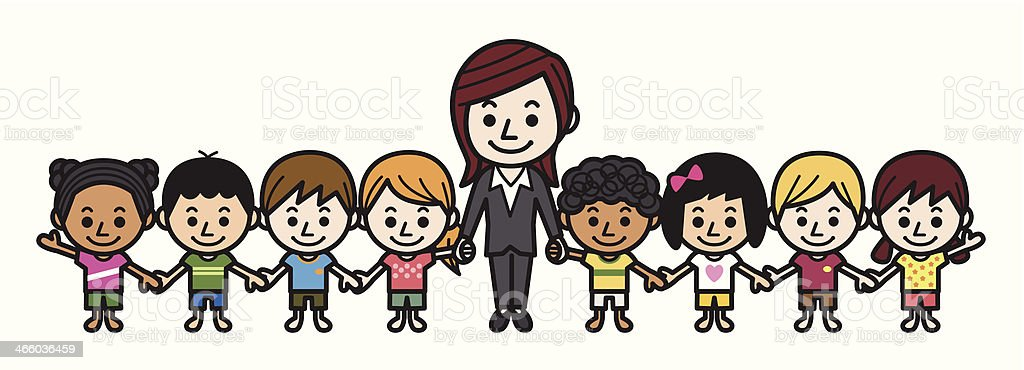 Teacher and elementary students vector art illustration