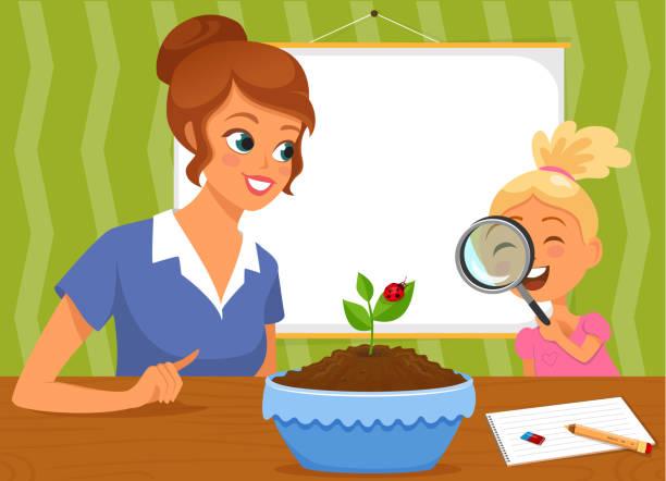 ilustrações de stock, clip art, desenhos animados e ícones de teacher and girl observing plant - teacher school solo
