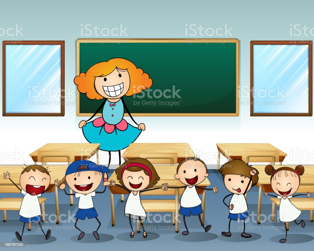 teacher and her students royalty-free teacher and her students stock vector art & more images of adult