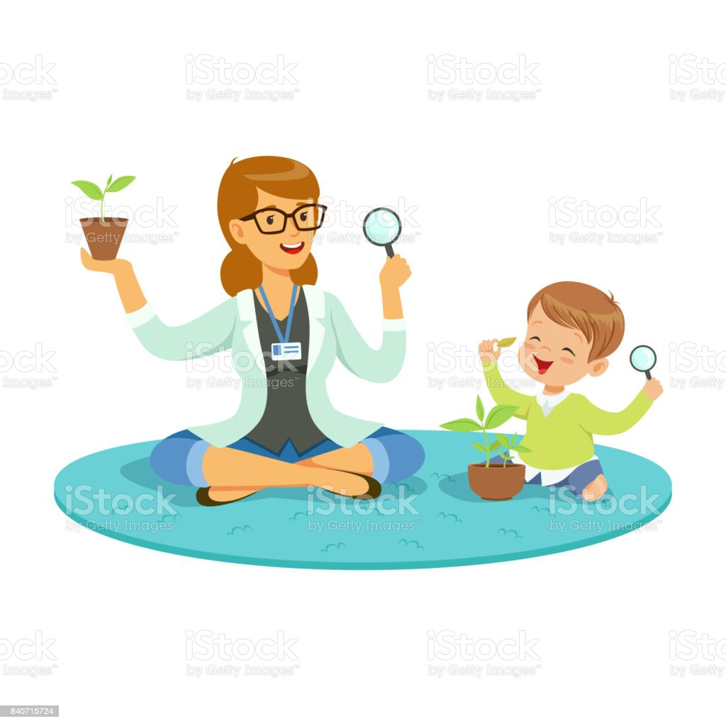 幼児教育活動漫画ベクトル イラストの先生小さな少年は床に座って植物