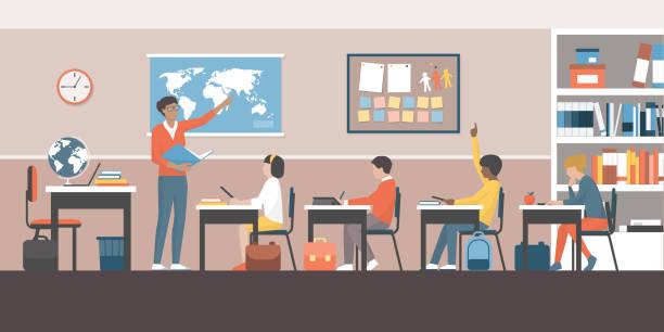 ilustrações, clipart, desenhos animados e ícones de professor e alunos em sala de aula - professor