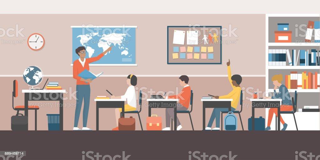 Enseignant et élèves en classe - Illustration vectorielle