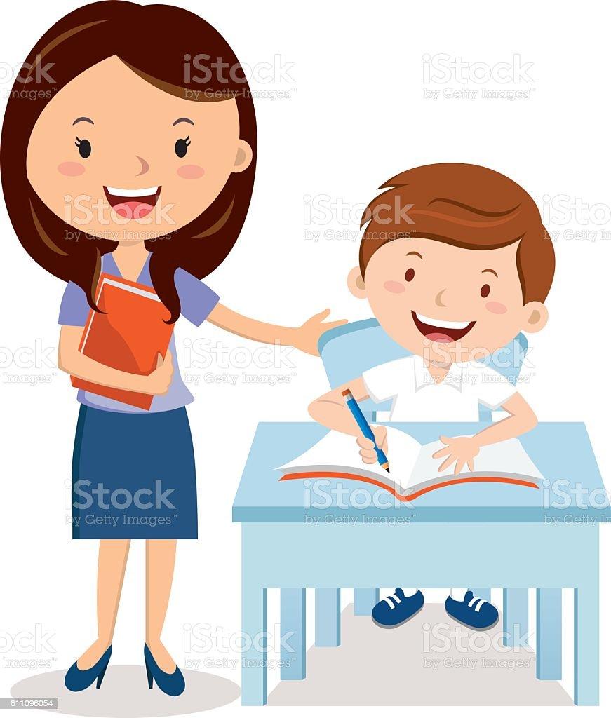 Teacher and school boy vector art illustration