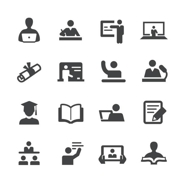 教師と学生のアイコン - アクメ シリーズ - 教室点のイラスト素材/クリップアート素材/マンガ素材/アイコン素材