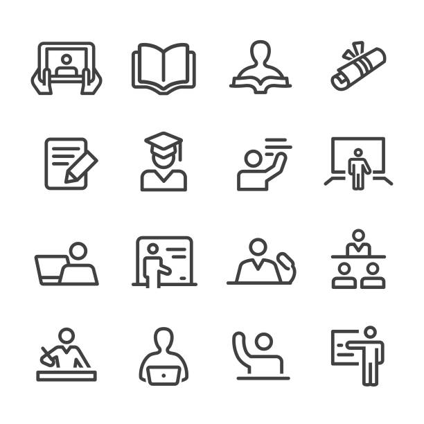 teacher and student icons - line series - homework stock illustrations