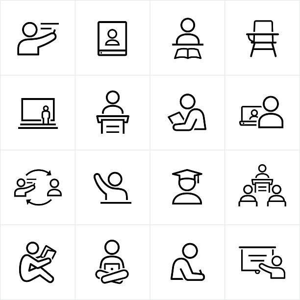 illustrations, cliparts, dessins animés et icônes de enseignant et étudiant icônes ligne. - professeur d'université