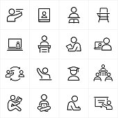 Teacher and Student Icons - Line Style