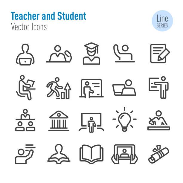 lehrer und studenten-ikonen-vector line serie - dozenten stock-grafiken, -clipart, -cartoons und -symbole