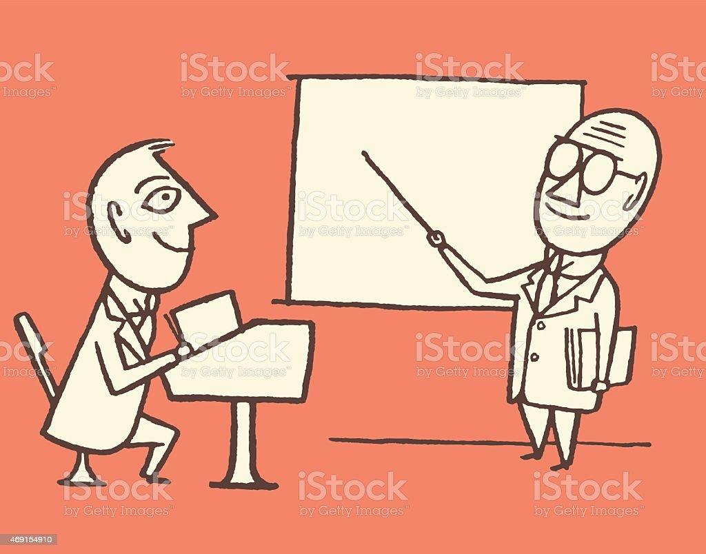 Teacher and Student vector art illustration