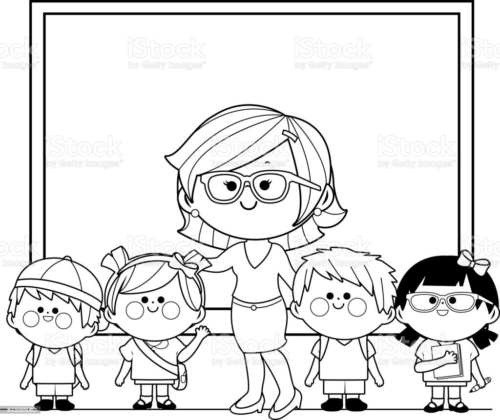 Teacher And Students At Class Black And White Coloring Book Page ...