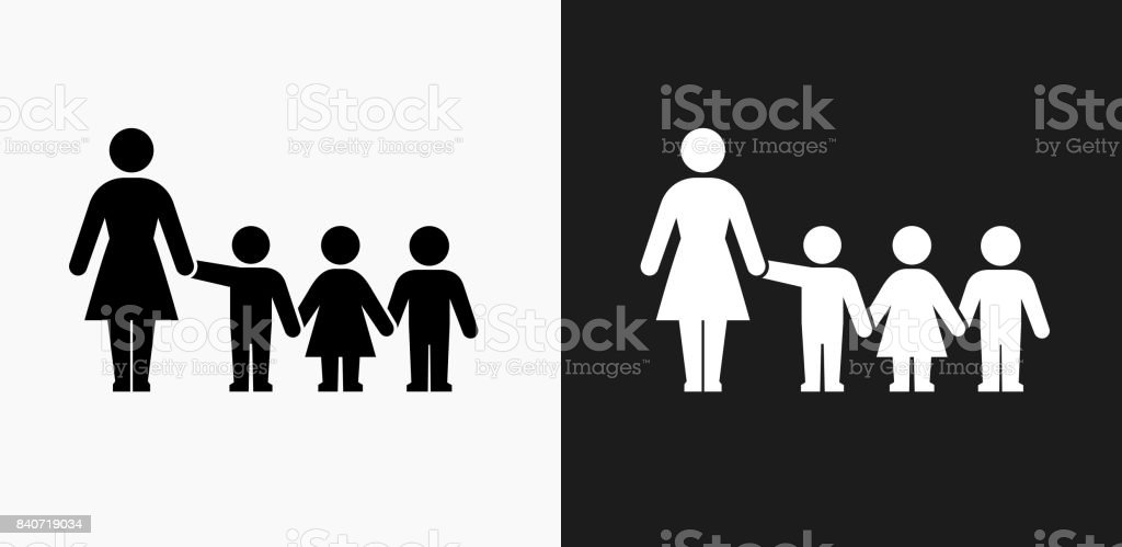 Teacher and Students Icon on Black and White Vector Backgrounds vector art illustration