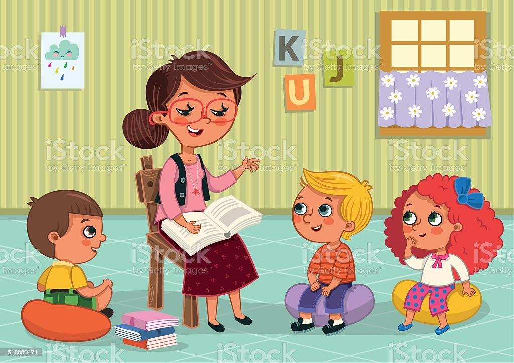 Teacher and students vector art illustration