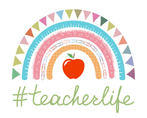 Teacher Appreciation Day vibes vector concept. Teacher appreciation week. Teacher Rainbow school banner in boho style. Teacher life lettering with red apple on white.  Hashtag teacherlife isolated teacher appreciation week stock illustrations