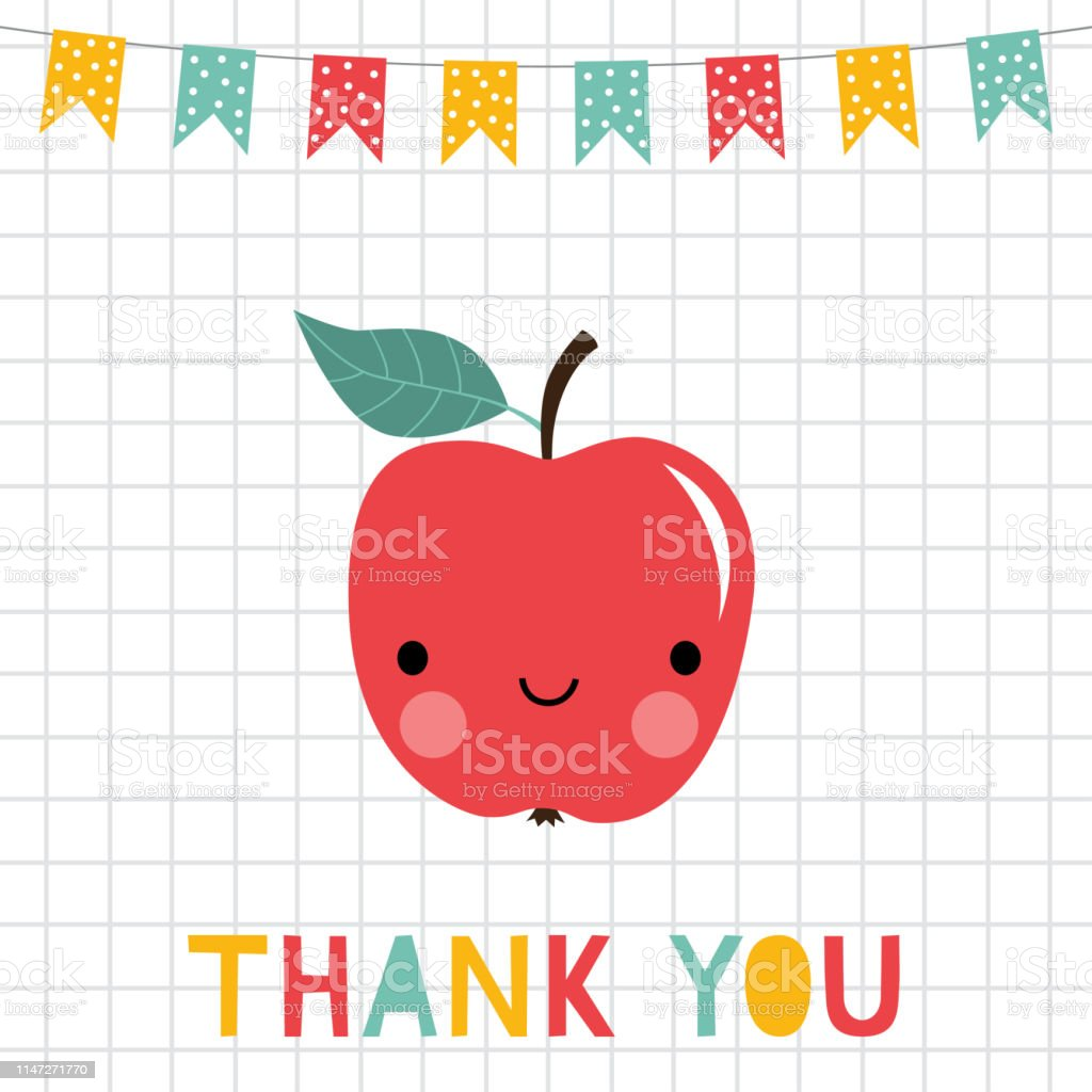 Teacher appreciation Thank You card with an smiling apple