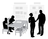 Silhouette illustration of a woman shaking the hand of a man in the library