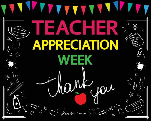 Teacher appreciation week concept. Thank you, teacher, white vector lettering on blackboard. Garland and school patterns. teacher appreciation week stock illustrations