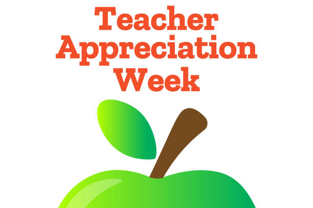 Teacher Appreciation Week. Holiday concept. Template for background, banner, card, poster with text inscription. Vector EPS10 illustration. Teacher Appreciation Week. Holiday concept. Template for background, banner, card, poster with text inscription. Vector EPS10 illustration thank you teacher stock illustrations