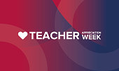 Teacher Appreciation Week in United States. Celebrated annual in May. School and education  national concept. Poster, card, banner and background. Vector illustration