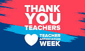 istock Teacher Appreciation Week in United States. Celebrated annual in May. In honour of teachers who hard work and teach our children. School and education. Student learning concept. Vector illustration 1222303589