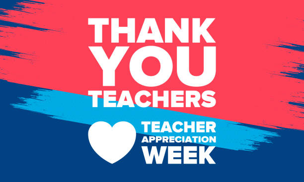 Teacher Appreciation Week in United States. Celebrated annual in May. In honour of teachers who hard work and teach our children. School and education. Student learning concept. Vector illustration vector art illustration