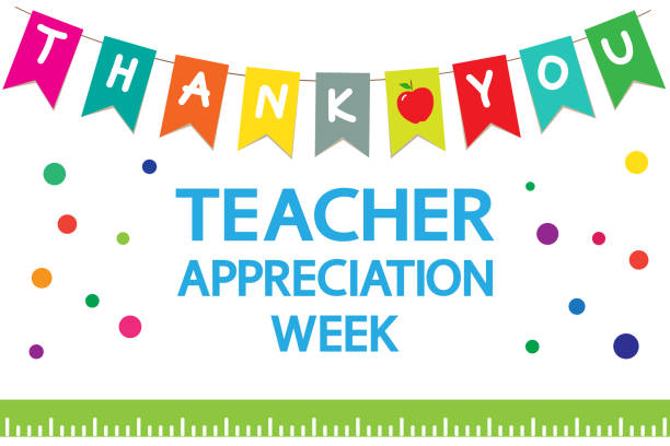 "Teacher Appreciation Week school banner. Garland of colored flags, text ""thank you"", apple, ruler on a white background, vector. Annual festive event. teacher appreciation week stock illustrations"