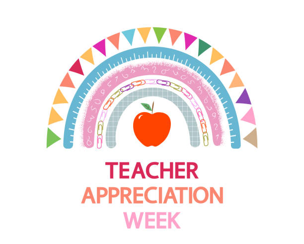 Teacher Appreciation Week school vector banner. Cute rainbow, apple and text on white. teacher appreciation week stock illustrations