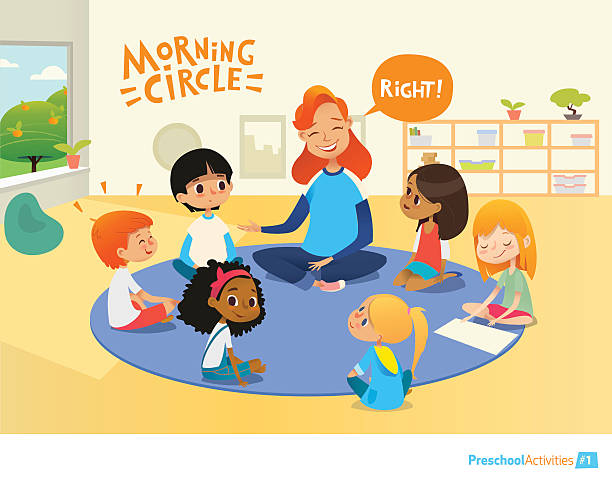 Teacher asks children questions and encourage them during morning lesson Laughing redhead teacher asks children questions and encourage them during morning lesson in preschool classroom. Pre-primary school education concept. Vector illustration for poster, advertisement. preschool teacher stock illustrations