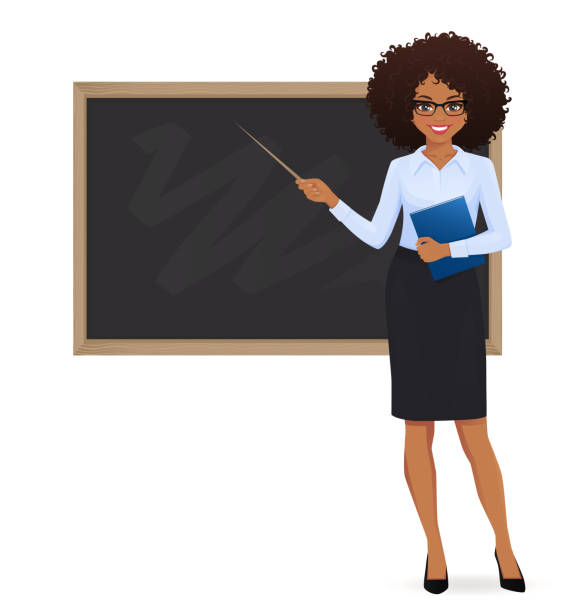 teacher bei blackboard - dozenten stock-grafiken, -clipart, -cartoons und -symbole