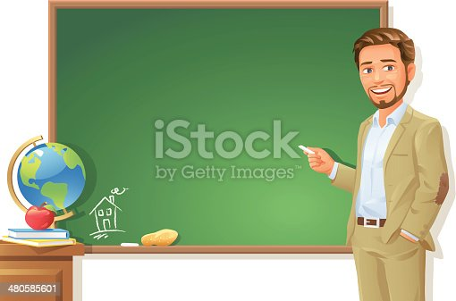 istock Teacher at Blackboard 480585601