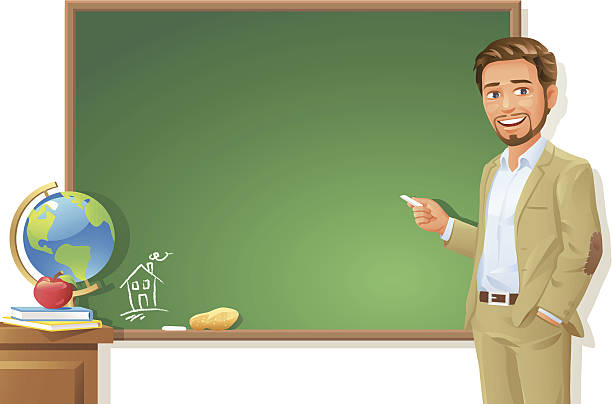 Teacher at Blackboard vector art illustration
