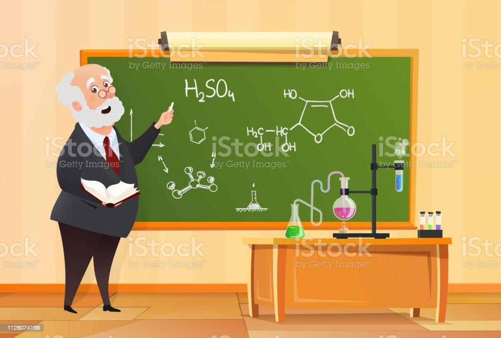 Teacher at the blackboard in class, chemistry lesson in school...