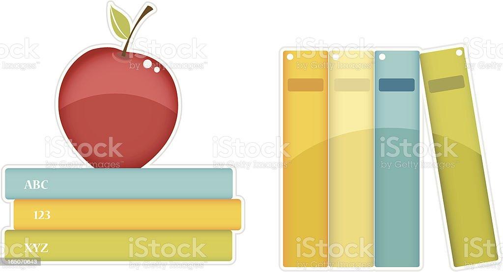 Teacher Books and Apple clipart royalty-free stock vector art