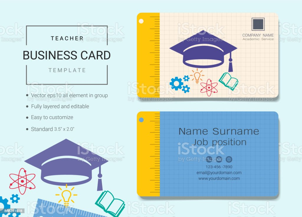 Fancy education business card crest business card ideas etadamfo teacher business card or name card template simple style also modern reheart Images