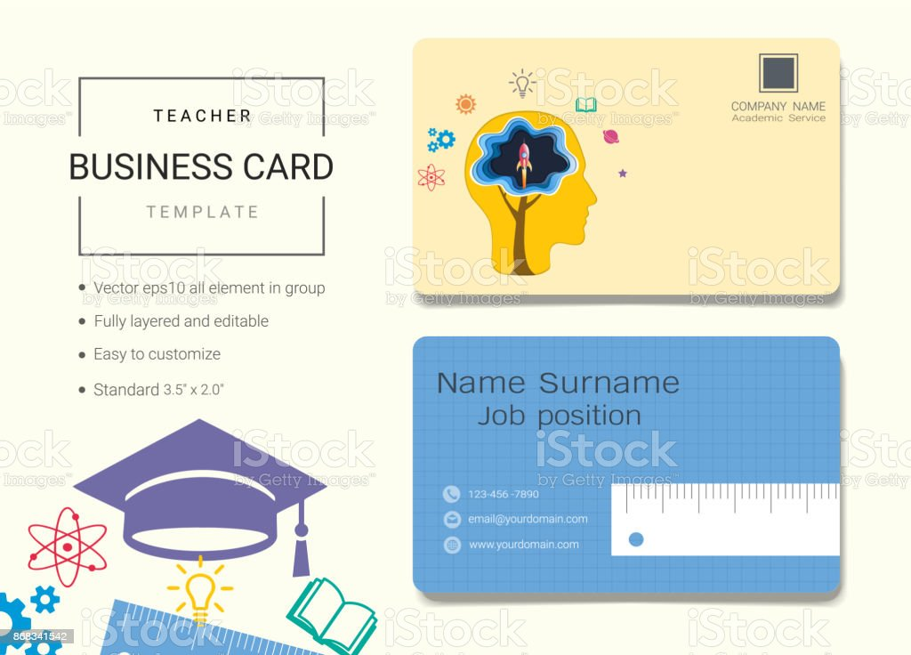Teacher business card or name card template simple style also modern teacher business card or name card template simple style also modern and elegant with education wajeb Gallery