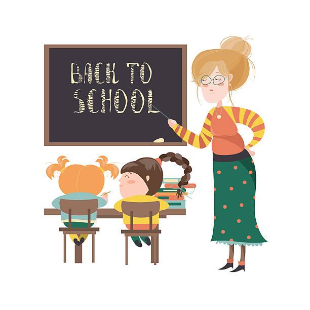 teacher by blackboard with pupils - schultische stock-grafiken, -clipart, -cartoons und -symbole