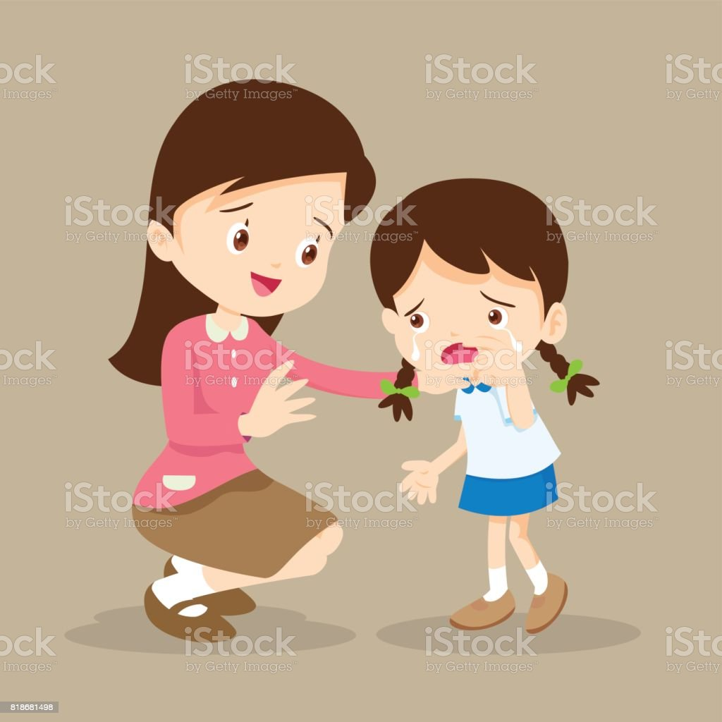 Teacher Comforting crying girl vector art illustration