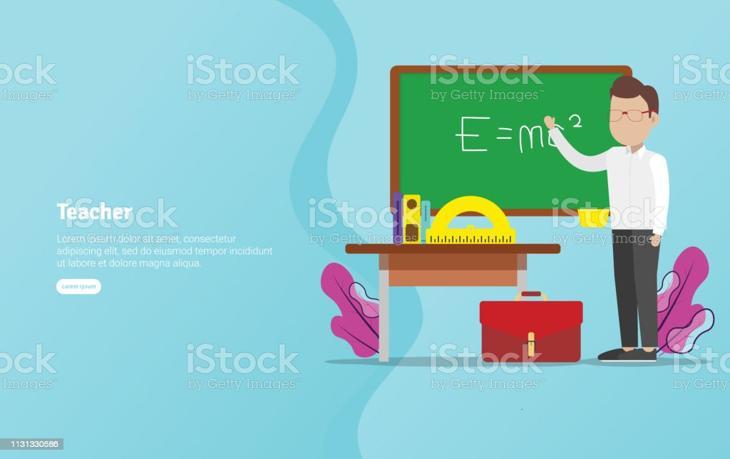 Teacher Concept Educational And Scientific Illustration Banner Suitable For Wallpaper Banner Background Card Book Illustration Or Web Landing Page And Use For Marketing Business Or Promotion Stock Illustration Download Image Now