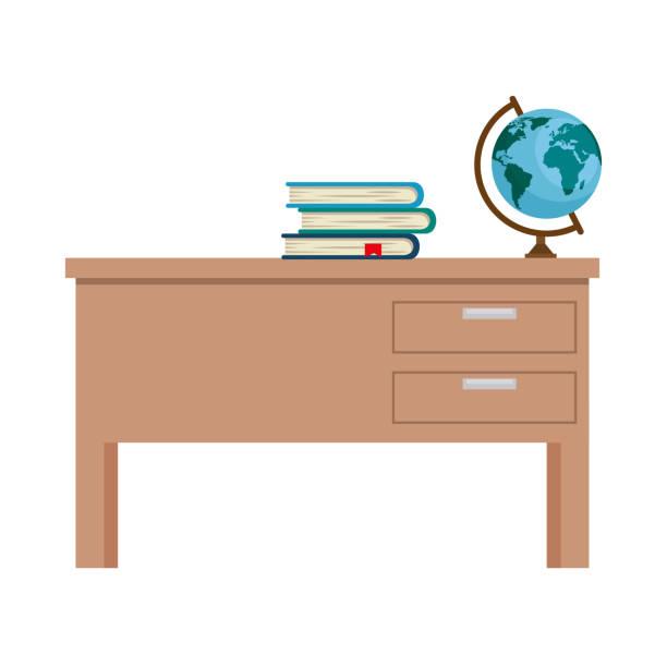 lehrer-schreibtisch mit büchern und planeten - schultische stock-grafiken, -clipart, -cartoons und -symbole