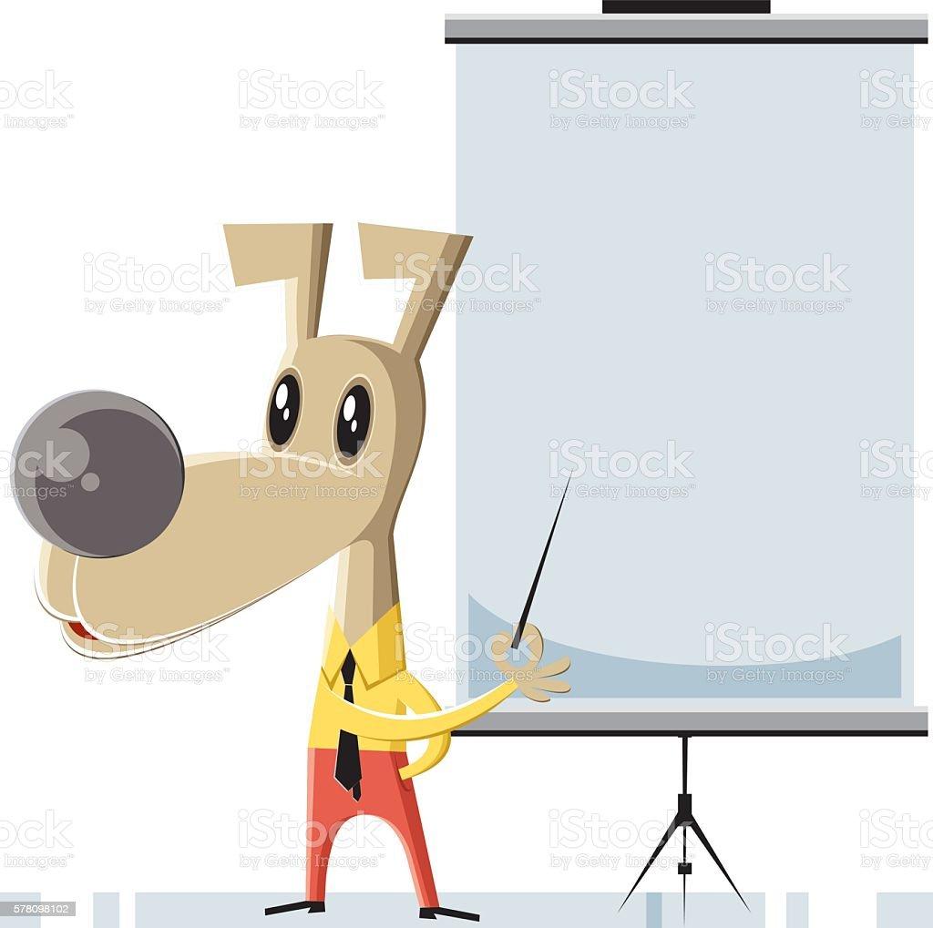 Teacher dog vector art illustration