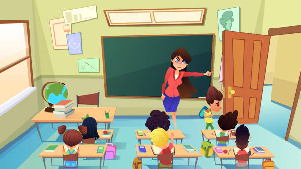 Teacher Excluding Pupil from Class Cartoon Vector Angry, Annoyed Female Teacher Excluding Guilty Sad Boy from Classroom Cartoon Vector. Pupil Bad Behavior and Discipline, Punishment in Pedagogy, Suspension and Exclusion from Elementary School Concept punishment stock illustrations