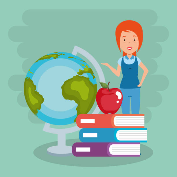 ilustrações de stock, clip art, desenhos animados e ícones de teacher female with school supplies - teacher school solo